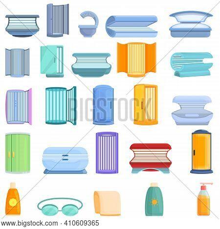 Solarium Icons Set. Cartoon Set Of Solarium Vector Icons For Web Design