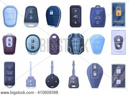 Smart Car Key Icons Set. Cartoon Set Of Smart Car Key Vector Icons For Web Design