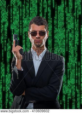 Gunman over matrix green background