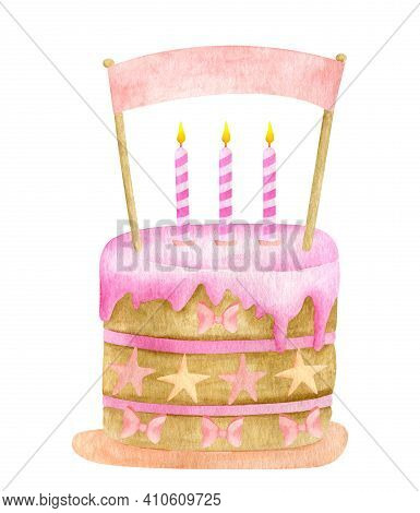 Watercolor Birthday Cake With Three Candles And Cake Topper. Hand Drawn Cute Biscuit Cake With Pink