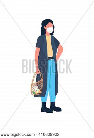 Shop Customer Flat Color Vector Faceless Character. Corona Virus Protection In Public Places. Fighti