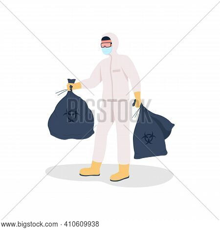 Throwing Out Rubbish Flat Color Vector Faceless Character. Plastic Pollution After Pandemia. Environ