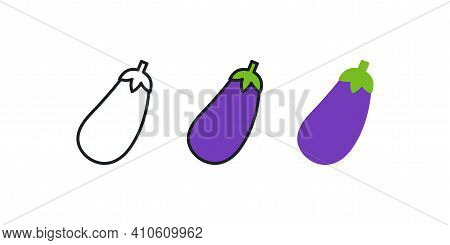 Eggplant Aubergine Icon. Linear Color Icon, Contour, Shape, Outline Isolated On White. Thin Line. Mo