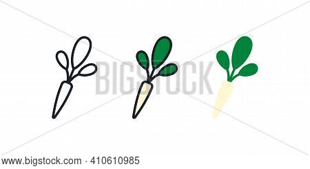 Horseradish Icon. Linear Color Icon, Contour, Shape, Outline Isolated On White. Thin Line. Modern De