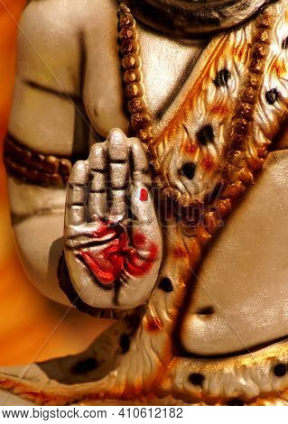 Close-up View Of Hand Of Indian God Shiva Idol ,in Blessing Pose