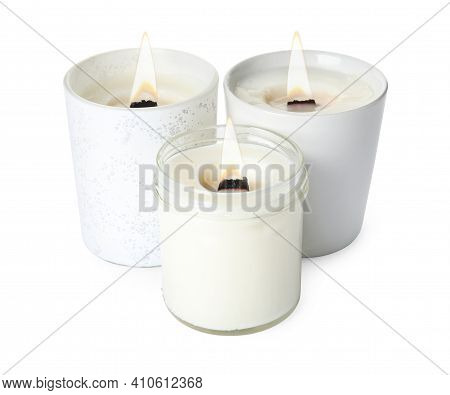 Aromatic Candles With Wooden Wicks On White Background
