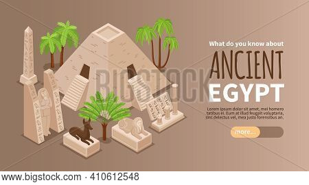 Ancient Egypt Isometric Horizontal Background Web Banner With Great Sphinx Statue Pyramid Famous Mon