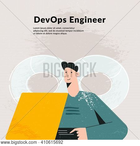 Devops Concept. It Engineer Combined Development And Operation Teams And Automates Processes. Flexib