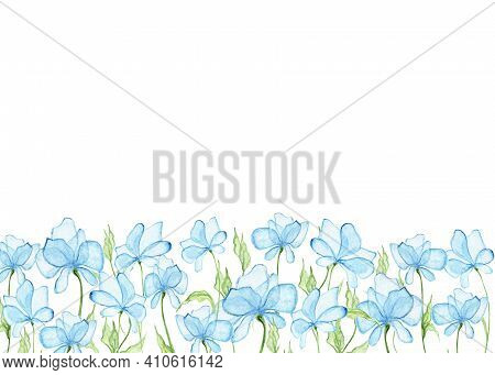 Botanical Watercolor Design Banner. Light Blue Flowers And Pale Green Leaves. Blank For Postcards, W