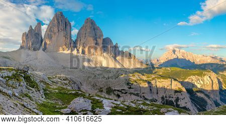 Tre Cime di Lavaredo, panoramic landscape of mountains and valley, Dolomites Alps, Italy