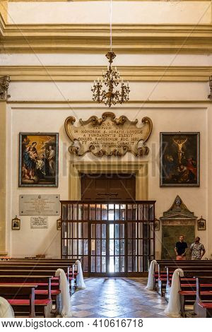 Dubrovnik, Croatia - Aug 20, 2020: Entrance Facade Of St. Ignatius Church In Old Town