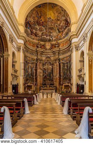 Dubrovnik, Croatia - Aug 20, 2020: Altar View Inside St. Ignatius Church After Wedding With Veil On