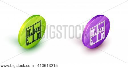 Isometric Line Shelf With Books Icon Isolated On White Background. Shelves Sign. Green And Purple Ci