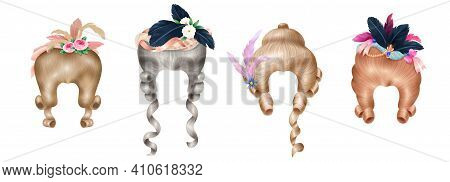 Rococo Women Fashion 18th Century Wigs Styled With Colorful Flowers Feathers Vintage Realistic Backg