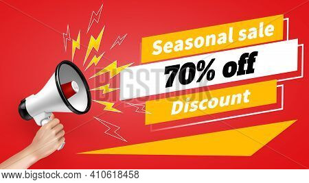 Loudspeaker And Megaphone With Sale Symbols On Red Background Realistic Poster Vector Illustration