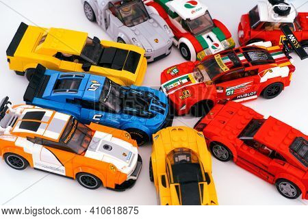 Tambov, Russian Federation - February 14, 2021 Lego Speed Champions. A Lot Of Lego Race Cars On A Wh
