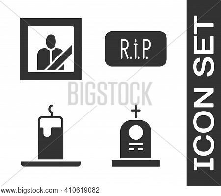 Set Grave With Tombstone, Mourning Photo Frame, Burning Candle And Speech Bubble Rip Death Icon. Vec