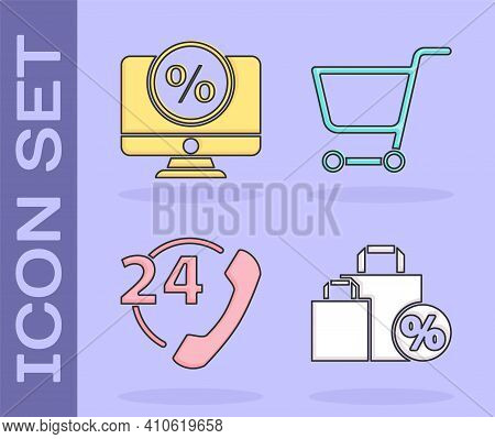 Set Shoping Bag With Discount, Percent Discount And Monitor, Telephone 24 Hours Support And Shopping