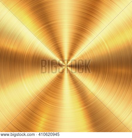Shiny Brushed Metallic Gold Circular Background Texture. Bright Polished Metal Bronze Brass Plate. R