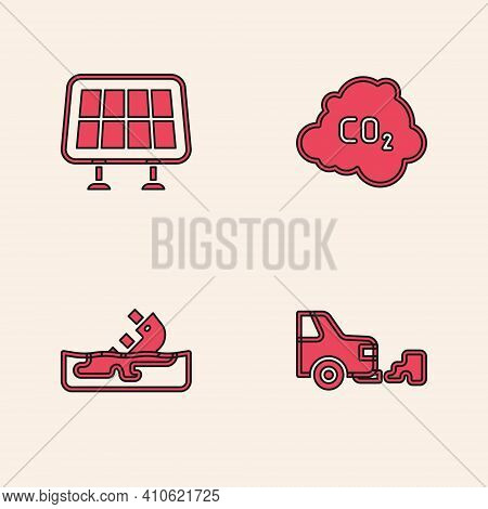 Set Car Exhaust, Solar Energy Panel, Co2 Emissions In Cloud And Wrecked Oil Tanker Ship Icon. Vector