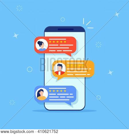 Review Rating Testimonials Online On Smartphone Screen Or Customer Testimony Feedback Experience, Bu