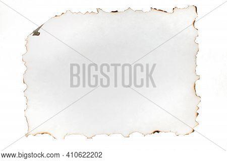 Burnt Sheet Of Paper. Burnt Edges Paper, Isolated On White Background