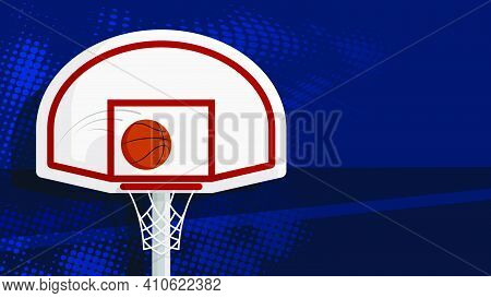 Sports Ball For Game Flies Into Hoop With Net And Basketball Backboard. Background Sports Competitio