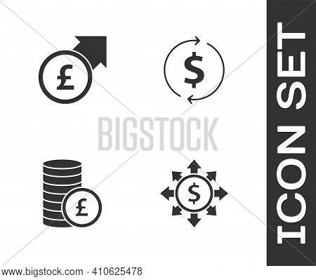 Set Dollar, Share, Network, Financial Growth And Pound, Coin Money With And Dollar Icon. Vector