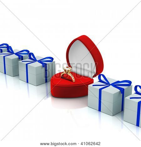 Red ring box with gift boxes on white background