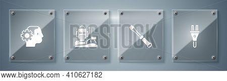 Set Electric Plug, Screwdriver, Robot Humanoid Driving A Car And Humanoid Robot. Square Glass Panels