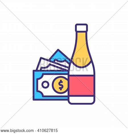Alcohol Purchase Rgb Color Icon. Selling And Buying Alcoholic Drinks. Picking Collectible Bottles. E