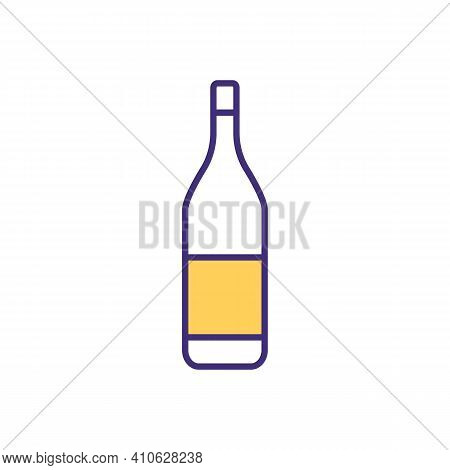Alcohol Bottle Rgb Color Icon. Gin, Scotch, Whisky. Alcoholic Beverages. Standard Capacity. Differen