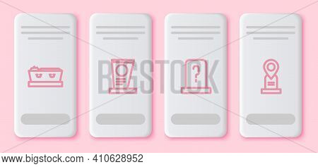 Set Line Coffin With Dead, Grave Tombstone, And Location Grave. White Rectangle Button. Vector