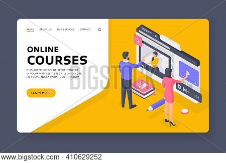 People Browsing Online Courses In Internet Isometric Vector Illustration. Banner Template