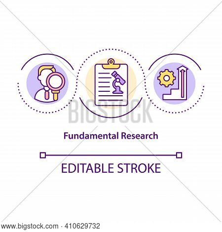 Fundamental Research Concept Icon. Expanding Knowledge In Specific Research Areas. Science Research