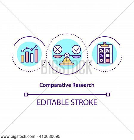 Comparative Research Concept Icon. Research Methodology That Aims To Make Comparisons. Science Idea