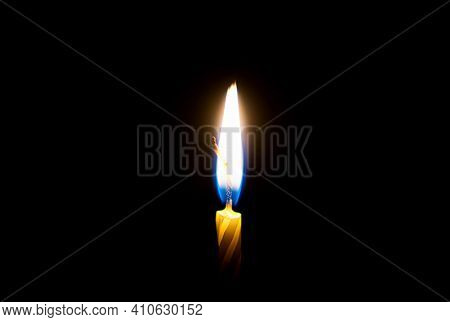 Flames Burning In The Dark Candle. Close-up