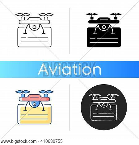 Drone License Icon. Issuance Of Permits For Drone Flights. Drone Piloting Training Course. Airlines