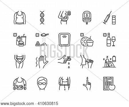 Diabetes Flat Line Icon Set. Vector Illustration Diabetes Symptoms And What Is Forbidden For Diabeti