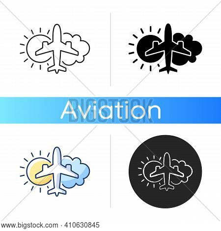 Aeronautical Meteorology Icon. Civil Aviation Issues. Wheather Prediction. Flight Safety. Plane With