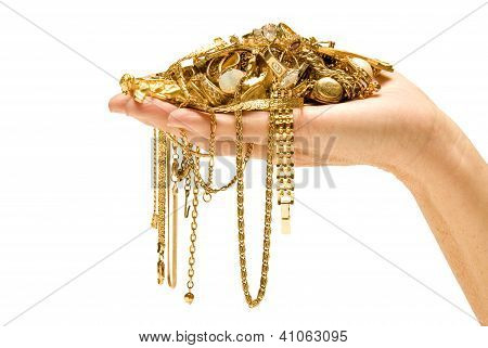Hand Holding Gold