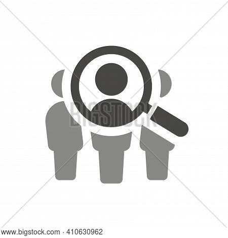 Magnifying Glass With People Search Vector Icon. Employee Recruitment Symbol With Loupe.