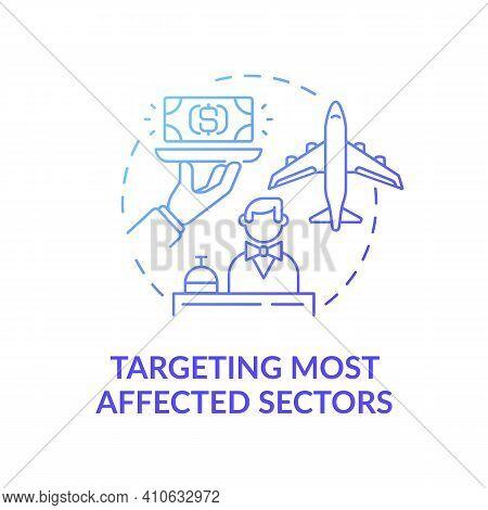 Targeting Most Affected Sectors Concept Icon. Economic Development Organization Idea Thin Line Illus