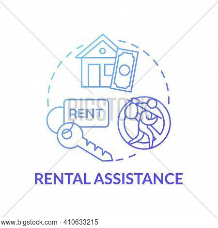 Rental Assistance Concept Icon. Assist Tenants With Utility Deposits Idea Thin Line Illustration. Re