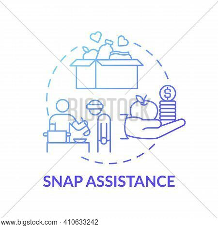Snap Assistance Concept Icon. Helping To Homeless People Idea Thin Line Illustration. Supplemental N