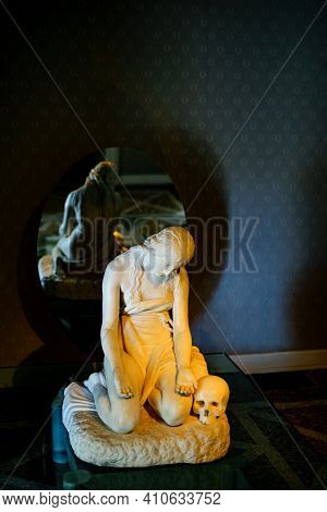 Sculpture Of The Penitent Mary Magdalene In A Villa On Lake Como In Italy.