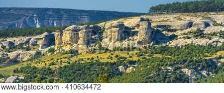 Russia. Crimea. Bakhchisarai. Stone Pillars. Stone Sphinxes Of Bakhchisaray In Crimea.