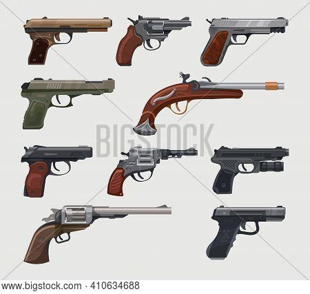 Guns, Pistols, Revolvers, Vintage Retro Handguns Vector