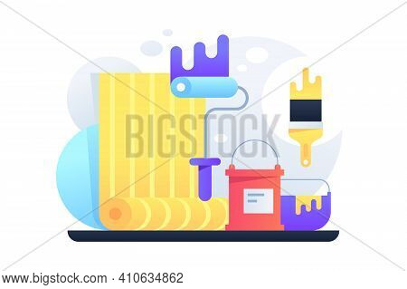 Equipment For Repairs Vector Illustration. Roller Paint And Yellow Wallpaper Flat Style. Set For Ren