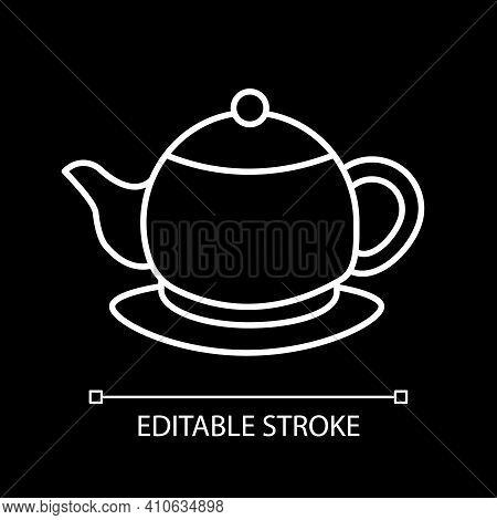 Ceramic Teakettle White Linear Icon For Dark Theme. Kettle For Tea Ceremony. Kitchen Appliance. Thin